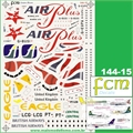 DECAL - A310 AirPlus-Comet / A319/320 British / F-27 Brasil Central / F-27 Eagle Canyon - FCM - 1/144
