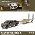 2015 Ford F-150 and Flatbed Trailer - Greenlight Hitch and Tow - 1/64