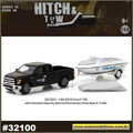 2015 Ford F-150 e Lancha Trailer Polícia - Greenlight Hitch and Tow - 1/64