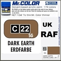 Tinta Gunze Acrílica Mr Color C 22 TERRA ESCURO Semi-Brilho - 10ml