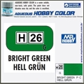 Tinta Gunze Acrílica H 26 VERDE BRIGHT Brilho - Mr Hobby - 10ml