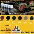 Conj 6 Tintas Acrílicas - Modern MILITARY Vehicles US/NATO - Italeri 6x20ml
