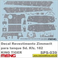 Decal Revestimento ZIMMERIT p/ tanque Sd. Kfz. 182 KING TIGER - Meng - 1/35